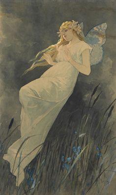 Elfe mit Iris Blüte, Alphonse Mucha.