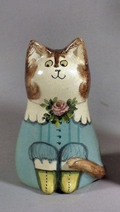 Joan de Bethel ceramic miniature figure of a seated cat