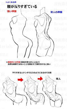how to draw, waist / 個人メモ:腰の長さと伸展 / January 2020 - pixiv Manga Drawing Tutorials, Manga Tutorial, Anatomy Tutorial, Drawing Techniques, Drawing Tips, Body Drawing, Drawing Base, Anatomy Drawing, Figure Drawing