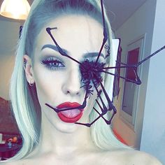 I had watched the tutorial for this spider inspired look on elliemac's YouTube channel, although I don't want anything coming out the eye I liked the technique used to create the spider legs which was just with black painted cotton sticks.