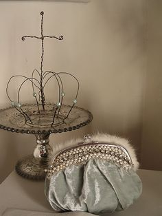 wire crown and Vintage velvet purse, too cute!