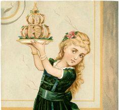 Free Vintage Birthday Girl Image with Cake Vintage birthday