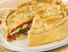 Try this Torta Rustica that can be made ahead and served room temp.