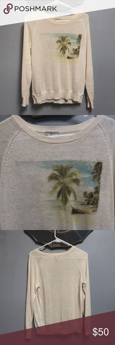 Joie Palm Tree Sweater This lovely lightweight Joie palm tree sweater is 100% linen. Only worn a handful of times and great condition. Minimal pilling. Joie Sweaters Crew & Scoop Necks