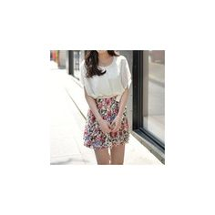Mock Two-Piece Floral Dress ($24) ❤ liked on Polyvore featuring dresses, women, floral print chiffon dress, floral print dress, white two piece dress, sash belt and 2 piece dress
