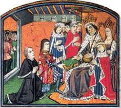 Anthony Woodville presenting a book to Edward IV. Anthony, Queen Elizabeth Woodville's brother, was a wise man and a scholar.  Would have made a good priest, but his service were required by the crown.  Eventually cost him his life.