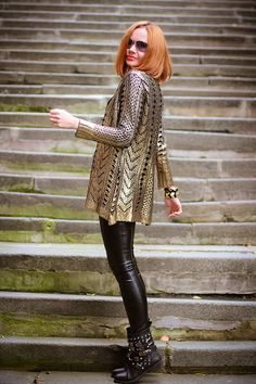Golden knight (of Cydonia) | gvozdiShe Golden Knights, Shiny Leggings, Faux Leather Pants, Personal Style, Blog, Sweaters, Passion, Outfits, Beauty