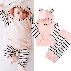 Baby Girl Hooded Romper Set