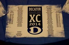 Our placemat. Each runners name is here plus the history of both teams at the Texas State XC meet.  Extremely impressive. Between both teams we have earned 8 championship trophies since the program was started in 1997