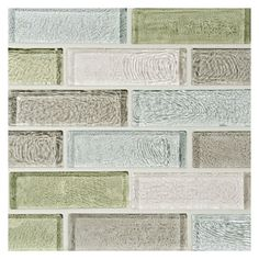 Complete Tile Collection Water & Sky Glass Mosaic Tile - Vapor Blend, x Staggered Brick Glass Mosaic, MI Color: Vapor Blend (Diamond Clear, Sandstorm Light Clear, Morning Sage Clear & Pure Rain Clear) Mosaic Bathroom, Glass Mosaic Tiles, Glass Brick, Moldings And Trim, Interior Walls, Subway Tile, Natural Stones, Sky, Pure Products