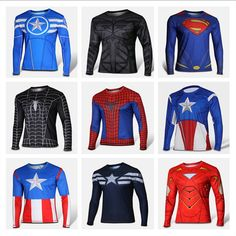 Men T-shirt Avengers Super Heroes Spider Man Captain America Long Sleeve Tops #OWN #BasicTee