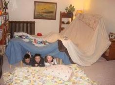 Making forts out of blankets. My 2 granddaughters do this this when they come to visit. I made forts back as far when I was 5, that I can remember.