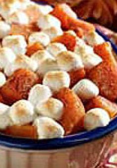 Mallow-Topped Sweet Potatoes — There's no sweeter use for two cans of sweet potatoes than this yummy casserole recipe. Bake just until the marshmallows on top are lightly browned. Sweet Potato Recipes, Veggie Recipes, Fall Recipes, Holiday Recipes, Cooking Recipes, Thanksgiving Dinner Recipes, Thanksgiving Side Dishes, Kraft Recipes, Favorite Recipes
