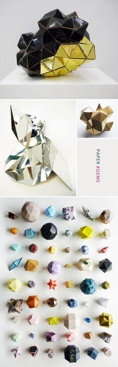 Paper gem sculptures by Lydia Kasumi Shirreff