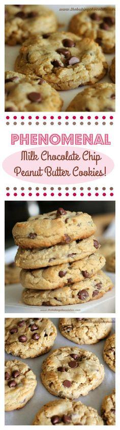 """Phenomenal"" Milk Chocolate Chip Peanut Butter Cookies (Soft n' Thick) via /https/://www.pinterest.com/BaknChocolaTess/"