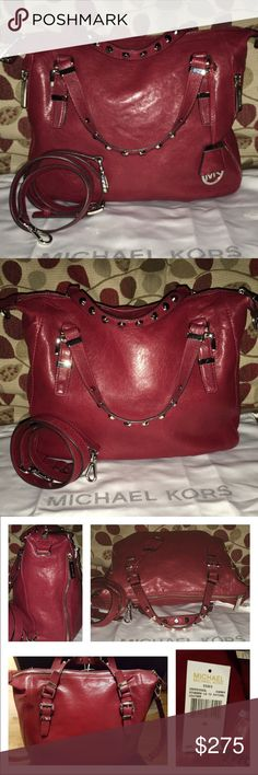 "Michael Kors Essex LG Leather Studded Satchel MK Essex Large Satchel in Cherry leather in pristine condition, with gorgeous silver hardware and accents! Logo lined, 1 zip, multiple slip pockets, key fob, zip top closure exterior has zipper pockets on each side, silver hardware and dud I mention the studding accents in the double handles? Drop is 4"" adjustable/detachable strap drop is 20-23"" the smooth leather gives this bag s streamline look! Measures 14 X 10 X 3.5 includes dust bag 🚫trades…"