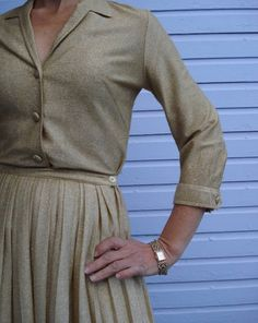1950s Metallic Gold Lurex Lame Blouse Pleated Skirt by bycinbyhand, $100.00