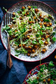 Turmeric Chickpeas w/ Lime Couscous (Well and Full) Veggie Recipes, Lunch Recipes, Whole Food Recipes, Salad Recipes, Vegetarian Recipes, Dinner Recipes, Cooking Recipes, Healthy Recipes, Lime Recipes