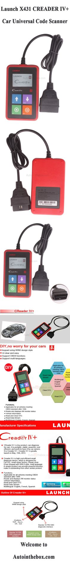 Buy Launch X431 CREADER IV+ Car Universal Code Scanner $27.99  - See more at: http://www.autointhebox.com/buy-launch-x431-creader-iv-car-universal-code-scanner_p1448.html #OBD2