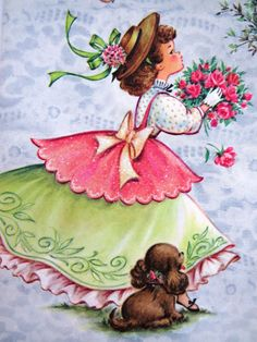 Vntg Get Well Greeting Card Sparkles Glitter Puppy Bouquet Roses Girl Birds NOS
