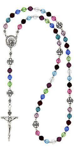 Personalized birthstone rosary.  Celebrate your family and your faith with this stunning one of a kind rosary.