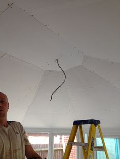 Conservatory ceiling modification by A & J Builders Conservatory Roof, Plasterboard, Stage, New Homes, Ceiling, Mood, Ideas, Home Decor, Ceilings