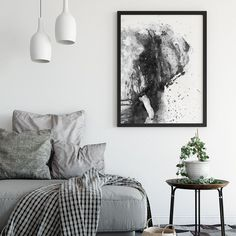 This silvery-gray painting illustrates half-face fox portrait. Highly minimalistic, this black and white painting is smoothly portrayed with fluent abstract patterns.As a spiritual animal, the fox is considered to have the ability of great guidance in dif Black And White Posters, Black And White Wall Art, Black And White Painting, Black And White Abstract, Black White, Scandinavian Poster, Decor Scandinavian, Bear Paintings, Painting Prints