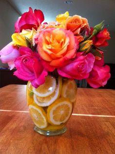 Bright flowers and lemons for summer shower.