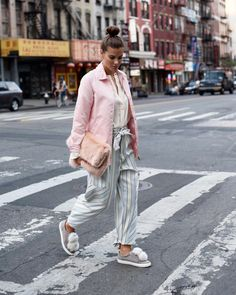 Blogger Nina Schwichtenberg from Fashiioncarpet wearing our first Pom Pom Fashion Sneaker on the streets of #newyork  Shop them here: www.amber-be.com  #theABlist #AmberBe