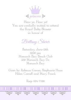 A little princess is on the way! Princess baby shower invitation with lavender crown.