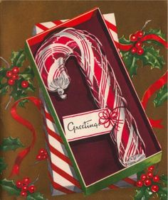 Vintage Christmas card boxed candy cane