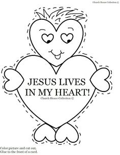 """Church House Collection Blog: Valentine's Day Heart Card Craft """"Jesus Lives In My Heart"""" I'm Saved By The Blood Of Jesus"""