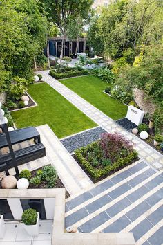 Diagonal paving garden design