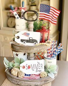 Patriotic Decor / Tiered tray decor / USA / Fourth of July Decor / Vintage truck sign / Farmhouse decor / Wood tags / Tag sign Fourth Of July Decor, 4th Of July Decorations, July 4th, Seasonal Decor, Fall Decor, Holiday Decor, Holiday Parties, Summer Parties, Tea Parties