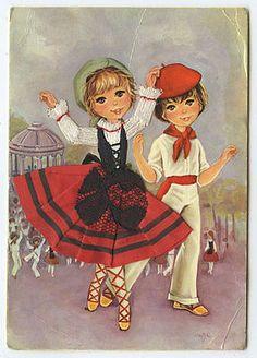 Couple-Boy-Girl-Embroidered-silk-fabrics-France-ethnic-dress-1960s-postcard-go19