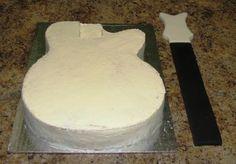 guitar cake crumb coat