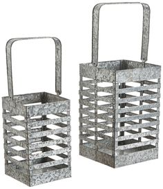 "Amazon.com: Deco 79 38187 Metal Galvanized Lantern S/2 19"", 15""H: Kitchen & Dining"