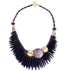 Check out the gorgeous Pure Charcoal Spike and Gold Ingenuity Statement Necklace at Luka. It is a trio of spikes made from Howlite, with Lava beads and fossilised Sea Lilies from different parts of the world. It also features 16 and 22 karat gold parts. Jewelry Art, Beaded Jewelry, Unique Jewelry, Handmade Jewelry, Beaded Necklace, Jewelry Design, Gold Necklace, Prom Necklaces, Jewelry Necklaces