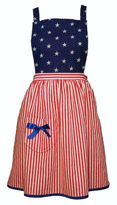 Patriotic apron ~ red,white and blue 4th Of July Party, Fourth Of July, Couture, Patriotic Outfit, Cute Aprons, Sewing Aprons, Aprons Vintage, Old Glory, Red White Blue