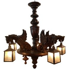 Black Forest Chandelier with Dragons & Slag Glass Shades, Circa 1900
