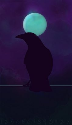 Raven and blue moon... <>:
