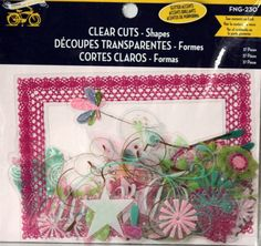 Little Yellow Bicycle Clear Cuts Shapes Glitter Accents Embellishments