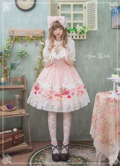 Avenue Denfer ~~Tea Time in Bordeaux~ Lolita Jumper Dress - Preorder Closed Harajuku Fashion, Kawaii Fashion, Cute Fashion, Asian Fashion, Fashion Outfits, Rock Fashion, Fashion Boots, Filles Alternatives, Mode Lolita