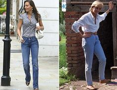 Princess Diana and Kate Middleton mastered the casual look here. Kate had a little fun with a printed shirt while Princess Diana wore a white button-down.