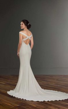 1034 Simple Crepe Wedding Dress With Clean Lines By Martina Liana Elegant