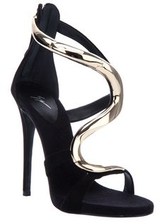 Black sandals from Giuseppe Zanotti featuring a stiletto heel