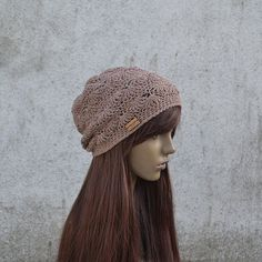Lacy Crochet Hat in Brown Cool Hat Hippie Hat by acrazysheep Cool Hats, Crochet Hats, Cool Stuff, Trending Outfits, Brown, Unique Jewelry, Handmade Gifts, How To Wear, Etsy