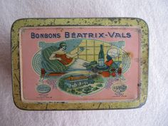 Ancienne boite BONBONS BÉATRIX-VALS tole litho 1930 - épicerie sweet tin box