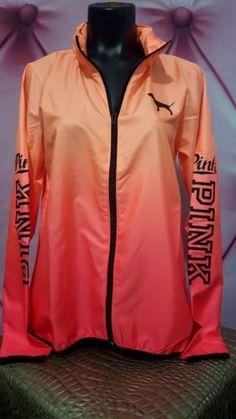 NWT-Victorias-Secret-PINK-Ombre-Orange-Anorak-Windbreaker-Jacket-Hoodie-XS-S