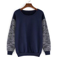 Round Neck Contrast Sleeve Loose Sweatshirt